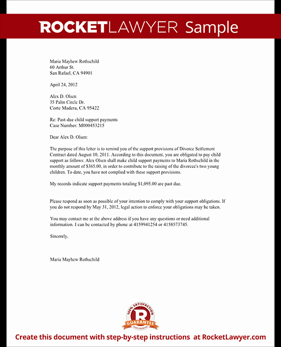 Child Support Letter Template Inspirational Demand for Child Support Payment Letter with Sample