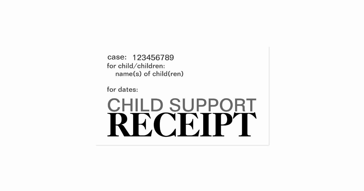 Child Support Receipt Template Awesome Child Support Receipt Cards