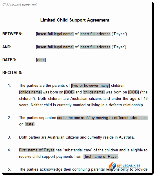 Child Visitation Agreement Template Awesome Child Support Agreement Template to Document Arrangements