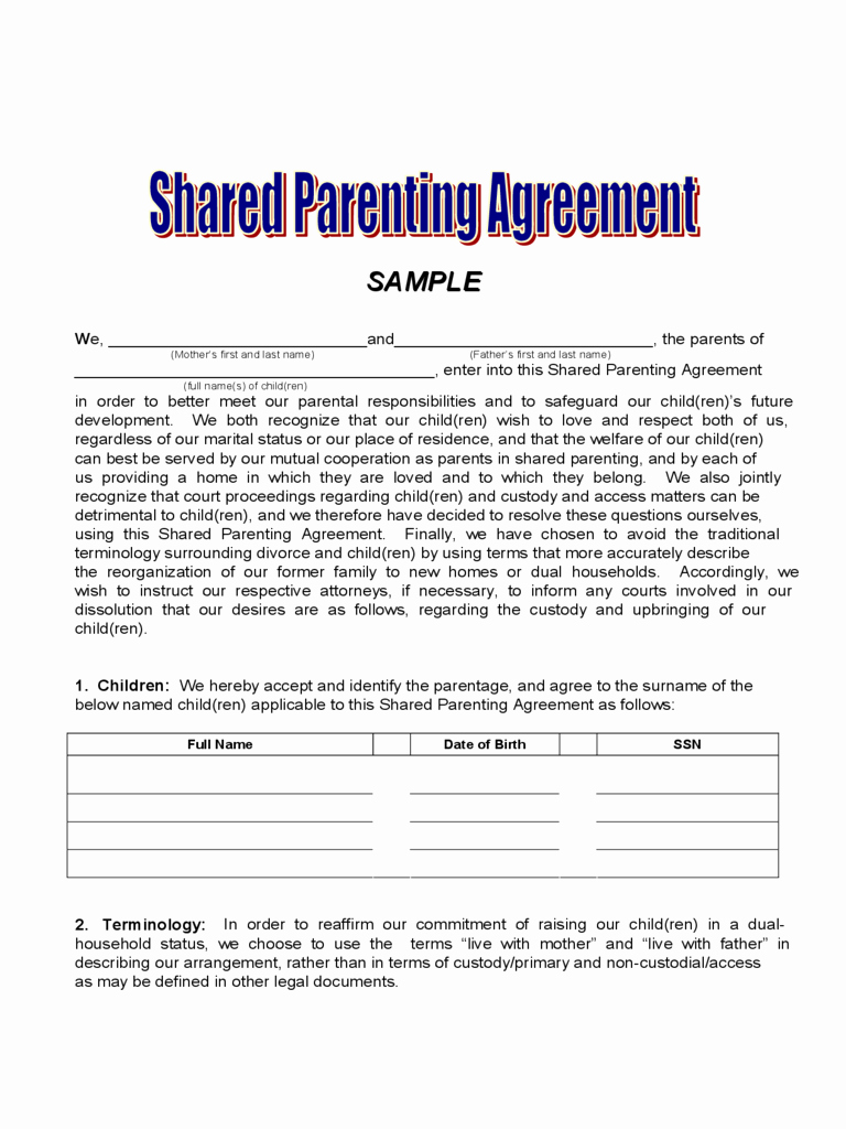 Child Visitation Agreement Template Fresh Agreement Joint Custody Agreement form