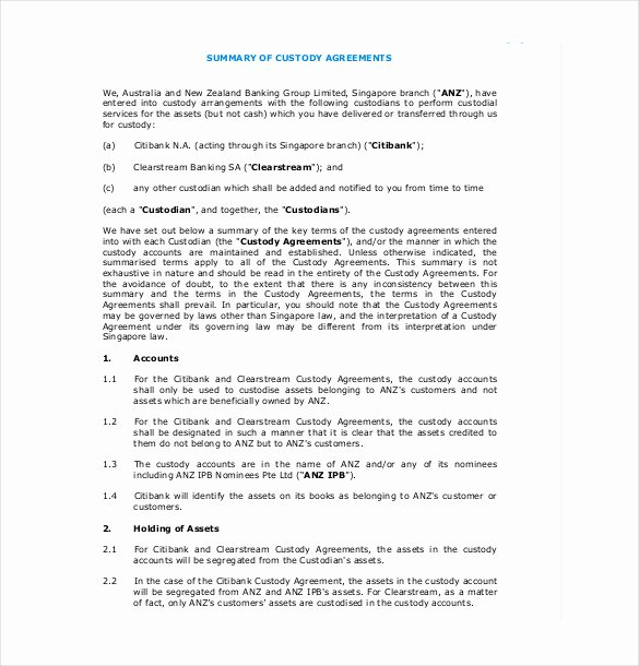 Child Visitation Agreement Template New 10 Custody Agreement Templates – Free Sample Example
