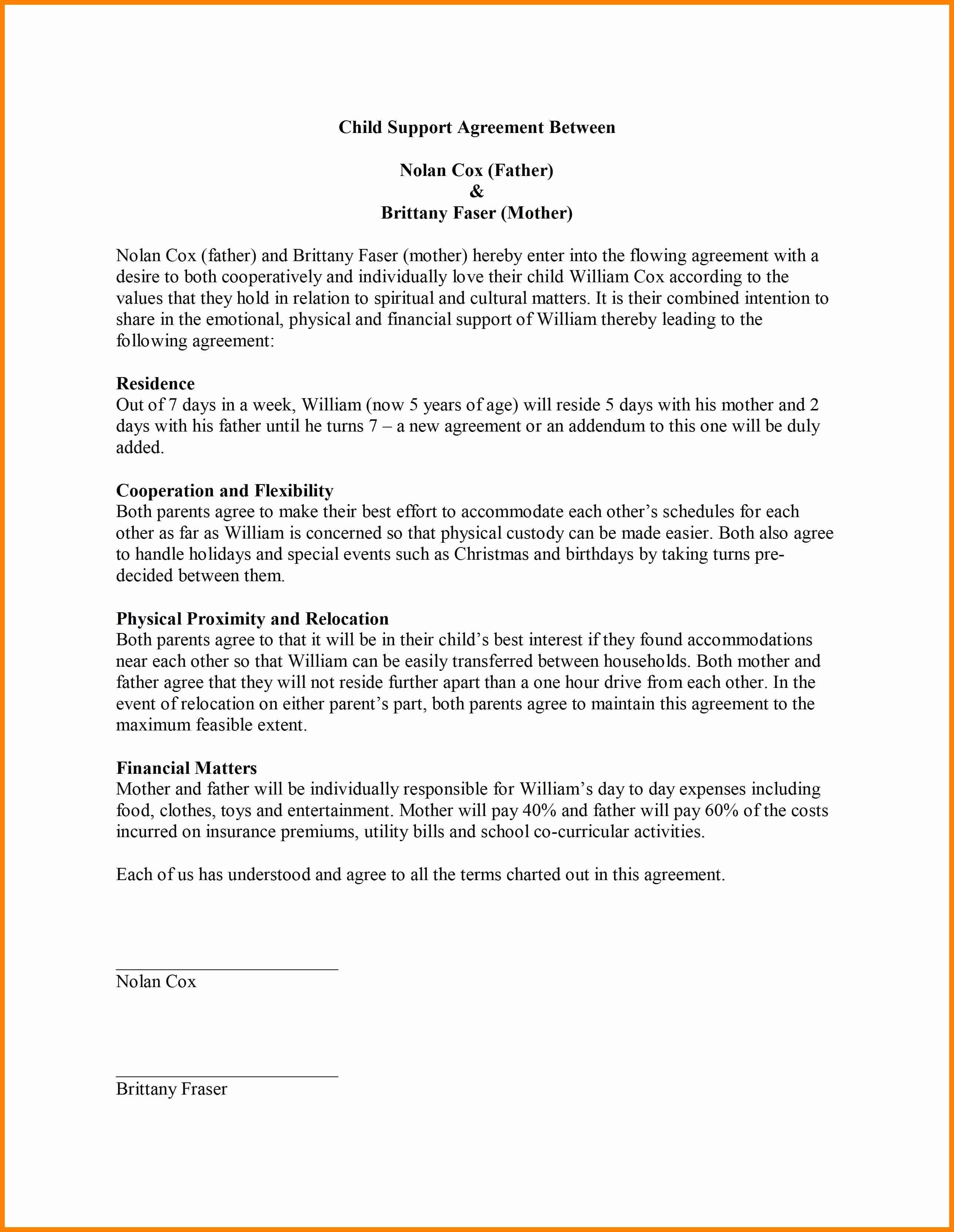 Child Visitation Agreement Template Unique Agreement Joint Custody Agreement form