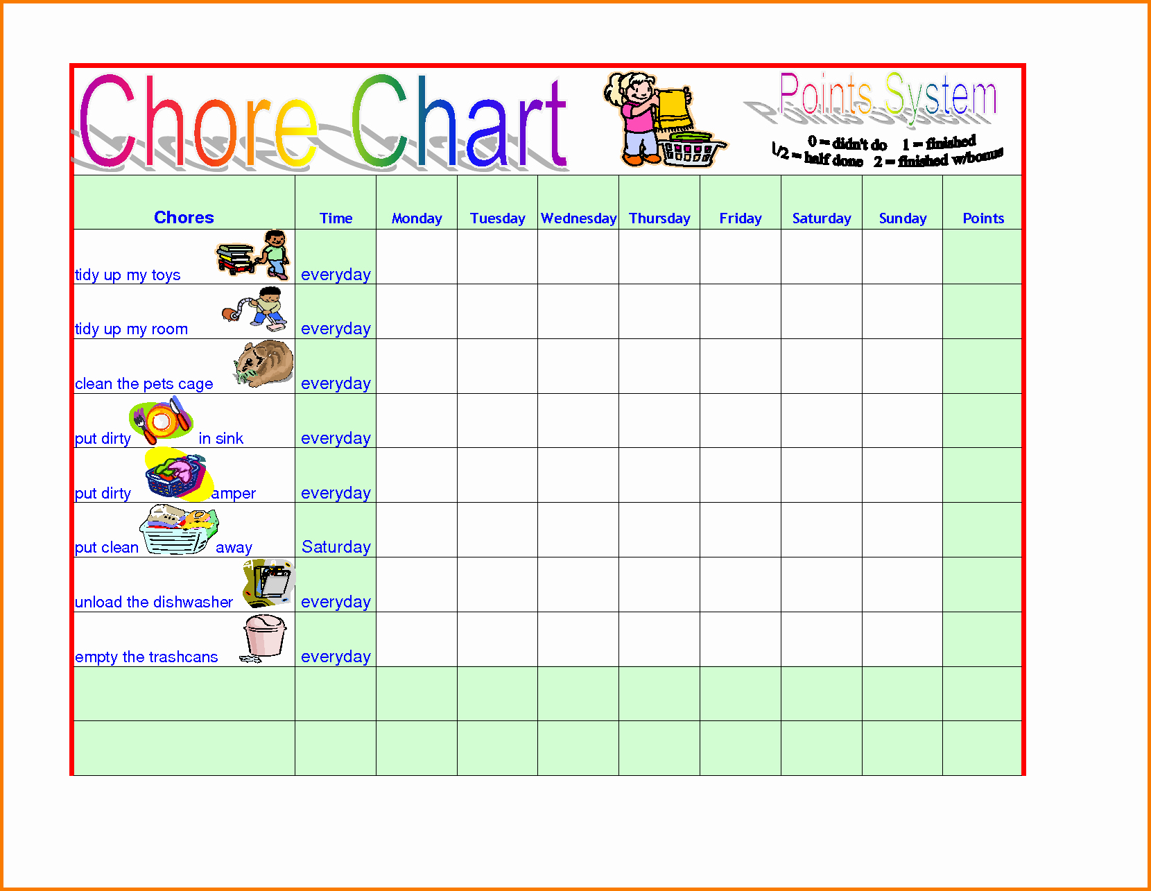 Children Chore Chart Template Awesome Chore Template