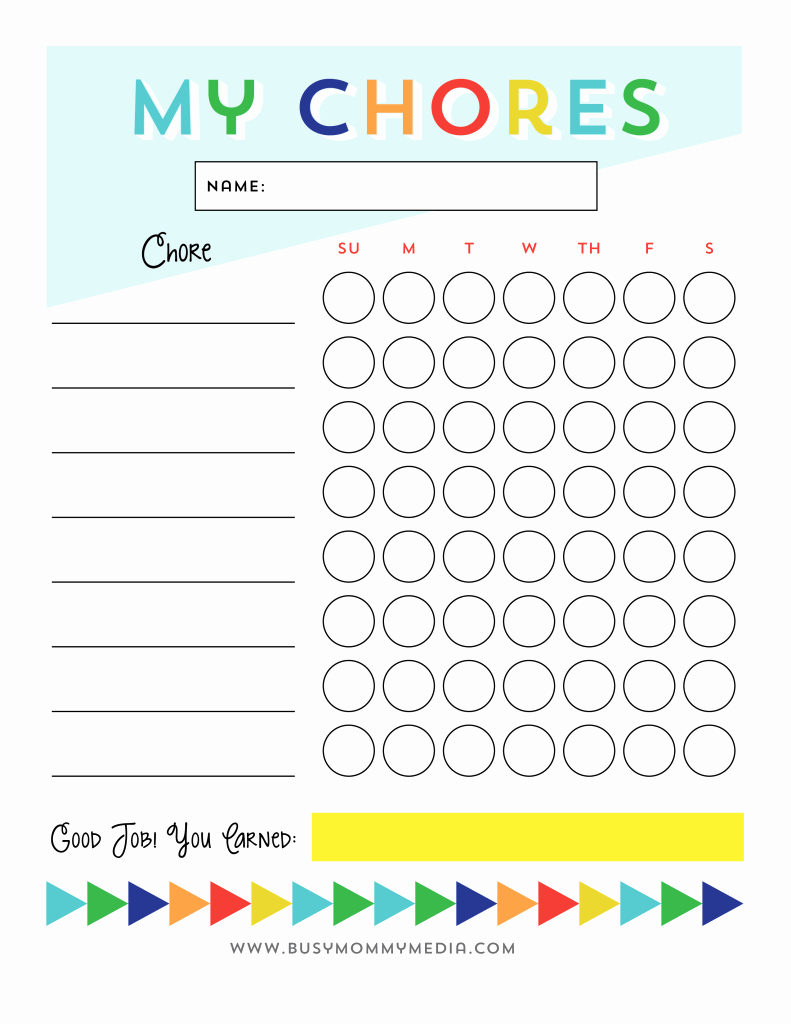 Children Chore Chart Template Beautiful Free Printable Chore Chart for Kids Busy Mommy Media