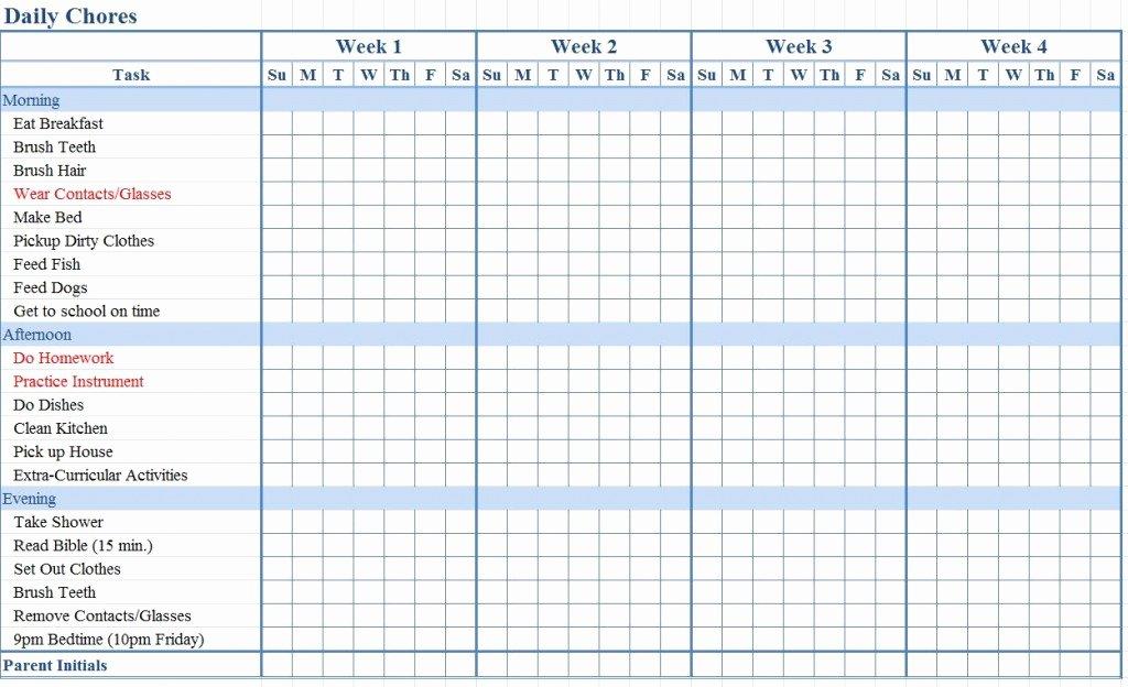 Children Chore Chart Template Elegant Chore Chart for Kids