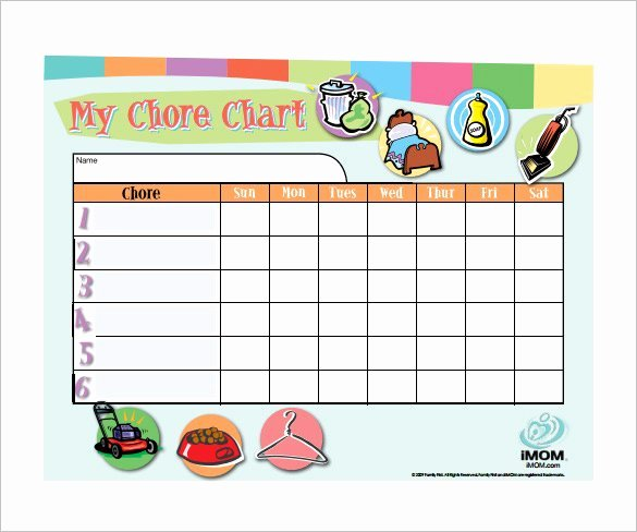Children Chore Chart Template Fresh 30 Weekly Chore Chart Templates Doc Excel