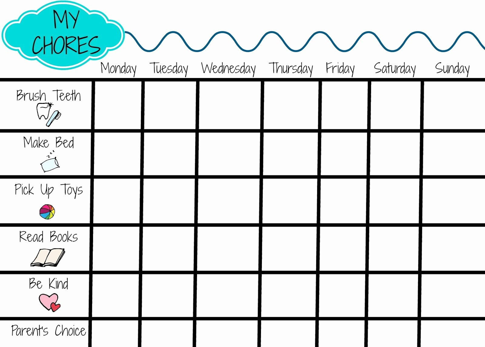 Children Chore Chart Template Inspirational Printable Chore Chart for Kids the Chirping Moms