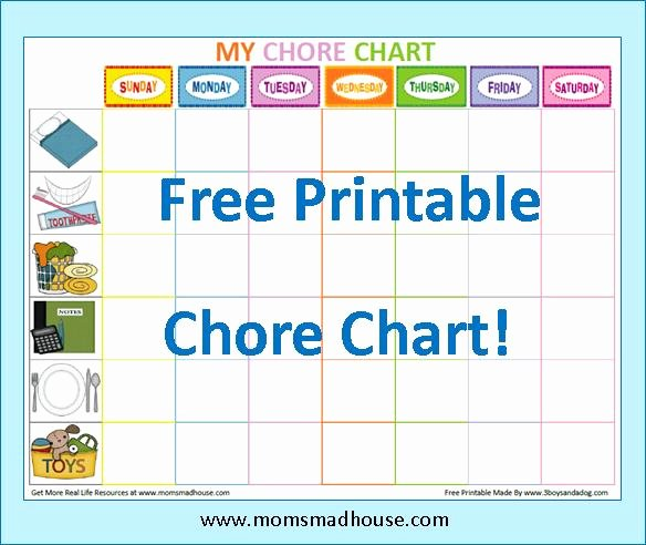 Children Chore Chart Template Lovely 7 Best Of Free Printable Chore Charts Blank