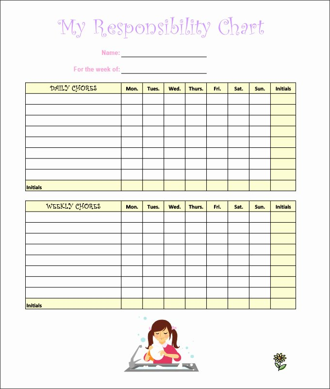 Children Chore Chart Template Lovely 7 Kids Chore Chart Templates Free Word Excel Pdf