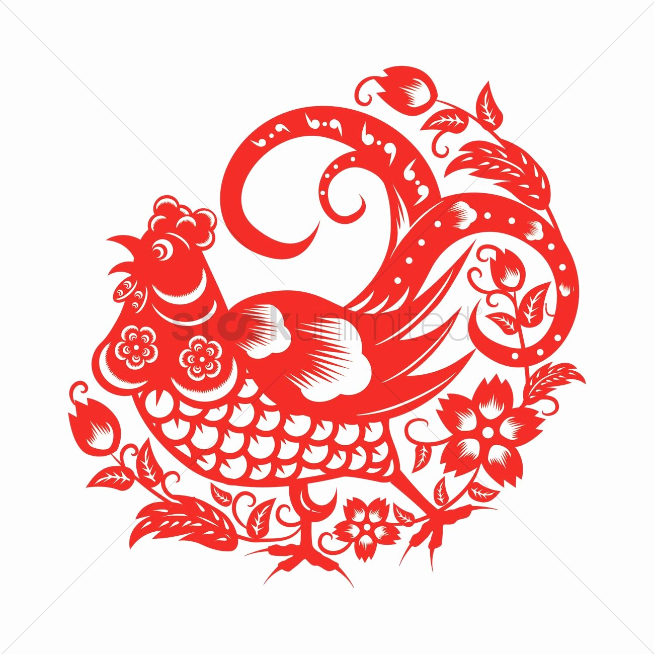 rooster in chinese paper cutting