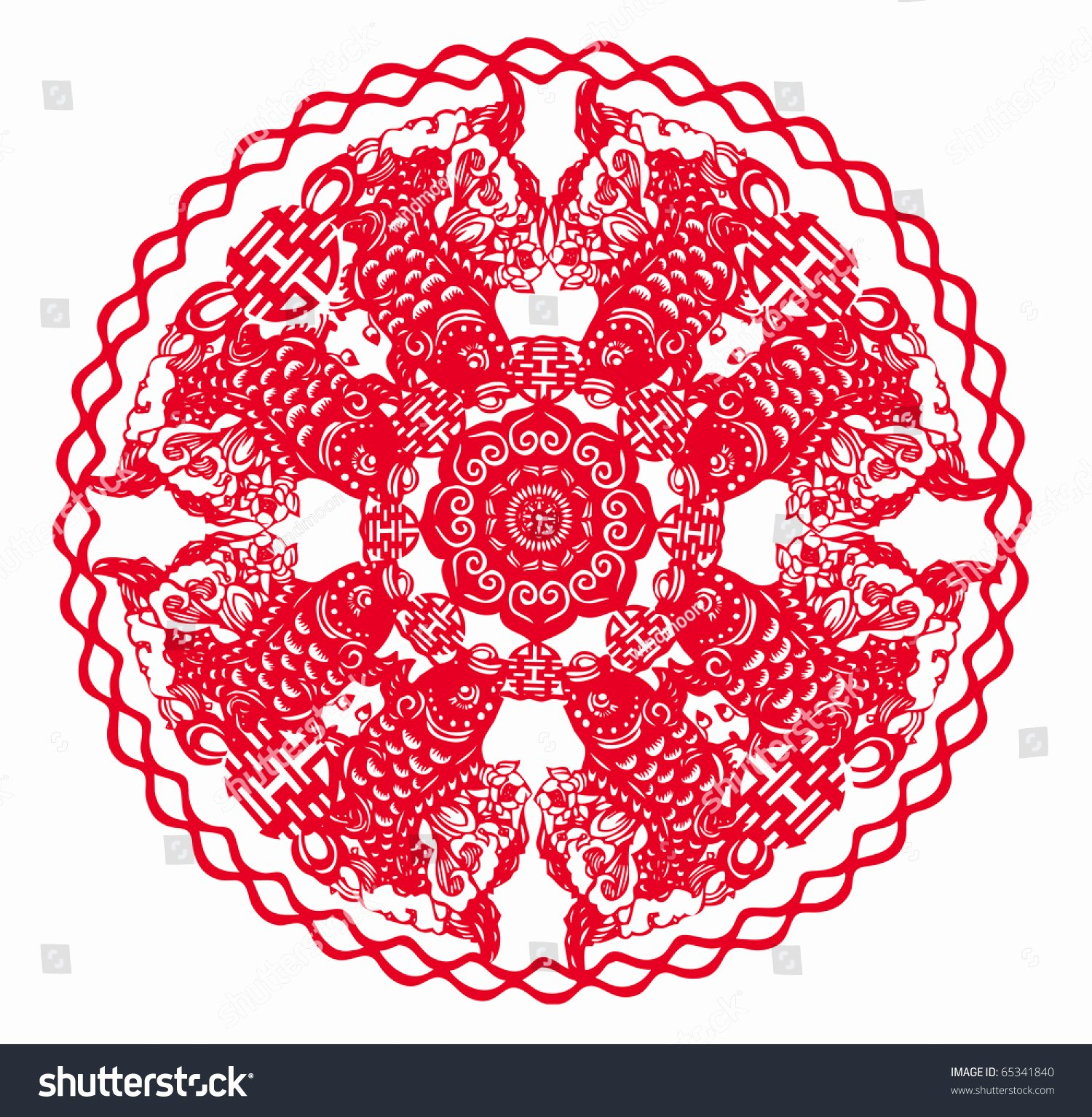 Chinese Paper Cutting Template New Chinese Paper Cutting Fish Patterns Stock Illustration