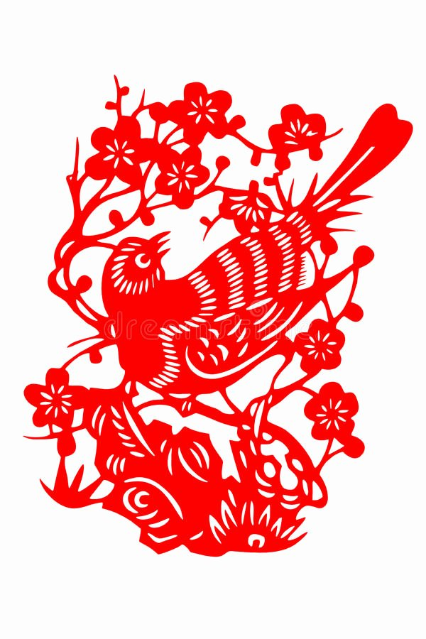 Chinese Paper Cutting Template Unique Chinese Paper Cut Bird Stock Illustration Illustration Of