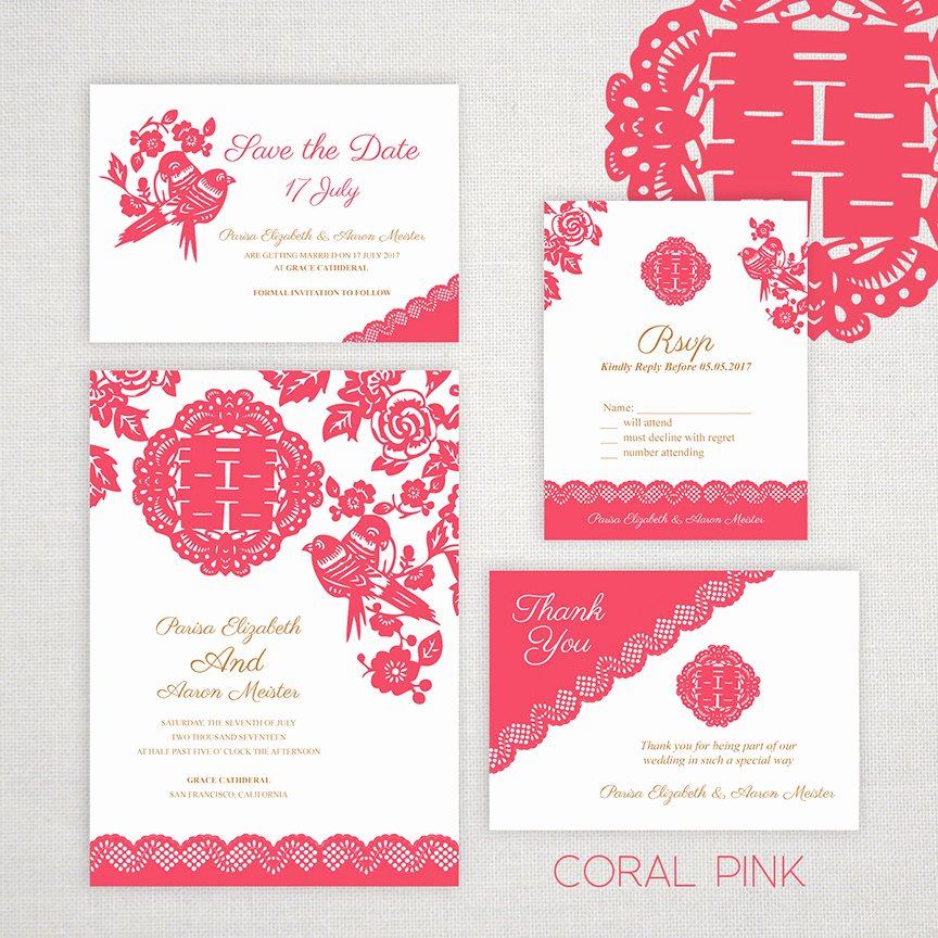 Chinese Wedding Invitations Template Inspirational Diy Printable Editable Chinese Wedding Invitation Save the