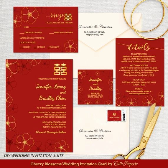 Chinese Wedding Invitations Template Unique Items Similar to Wedding Invitation Template Cherry