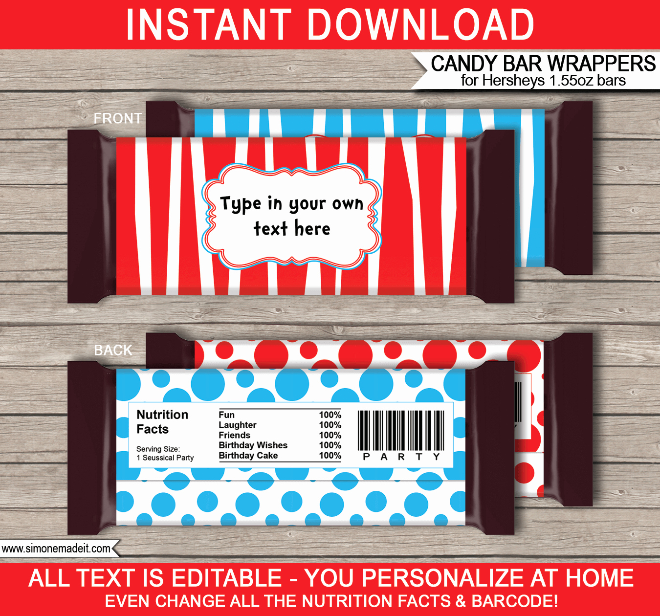 Chocolate Bar Wrapper Template Fresh Dr Seuss Hershey Candy Bar Wrappers