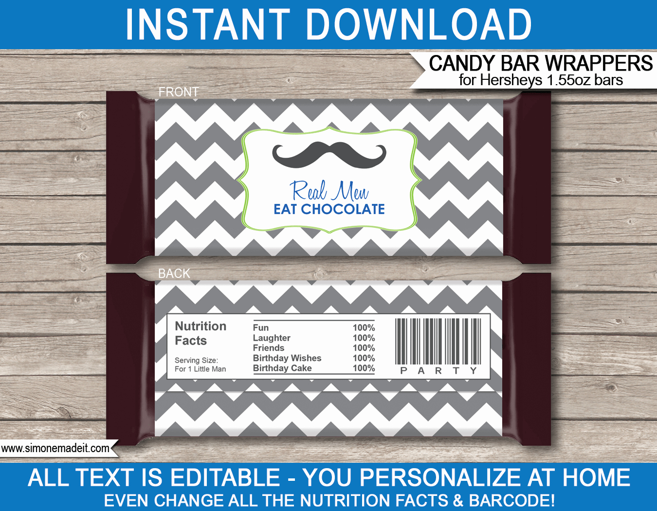 Chocolate Bar Wrapper Template Fresh Mustache Hershey Candy Bar Wrappers