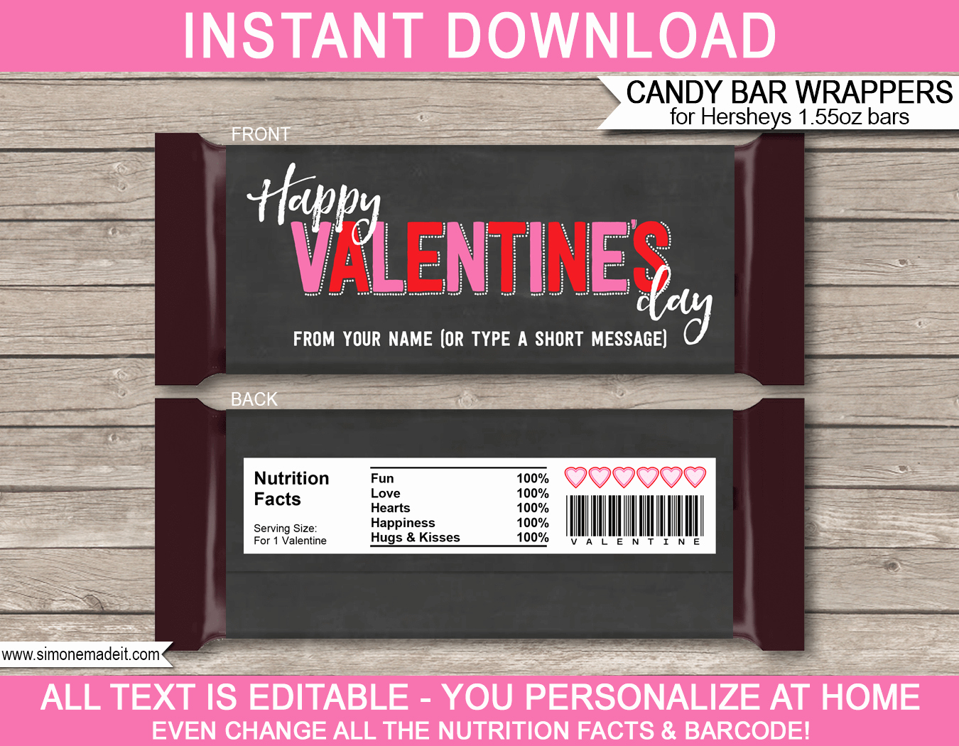 Chocolate Bar Wrapper Template Luxury Valentine S Day Candy Bar Wrappers
