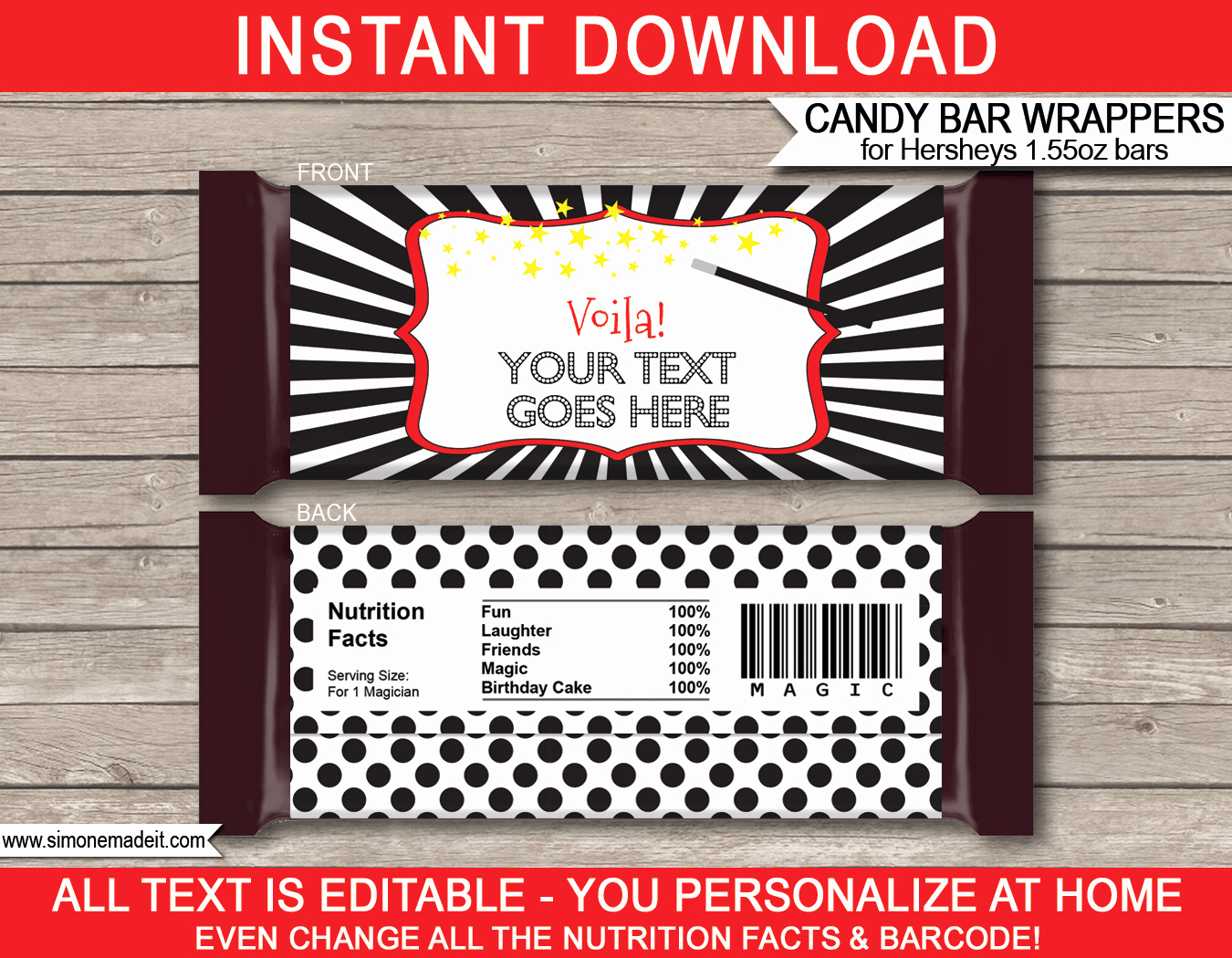 Chocolate Bar Wrappers Template Best Of Magic Hershey Candy Bar Wrappers