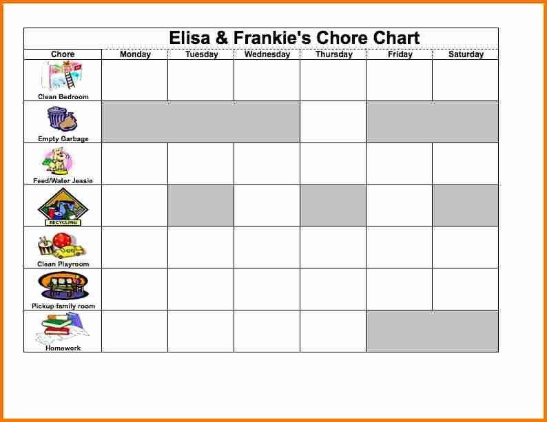 Chore Chart Template Excel Awesome Excel Chore Chart