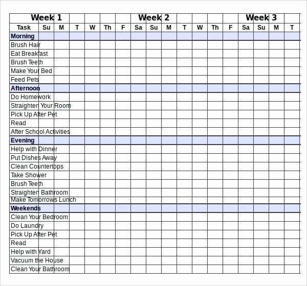 Chore Chart Template Excel Best Of Responsibility Chart Template Family Daily Chore Free