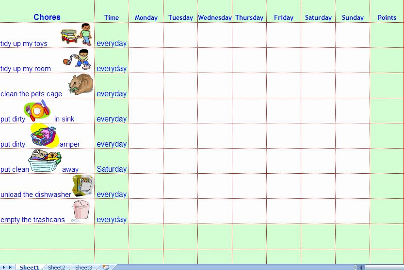 Chore Chart Template Excel Elegant Chore Charts for Kids