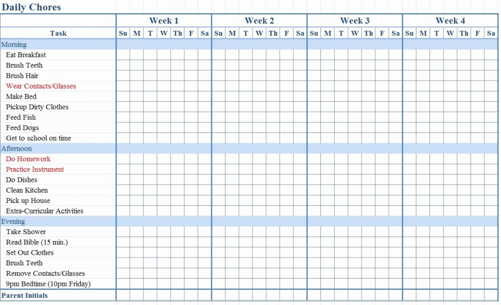 Chore Chart Template Excel Fresh Chore Chart for Kids