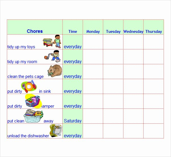 Chore Chart Template Excel Lovely 8 Chore List Templates