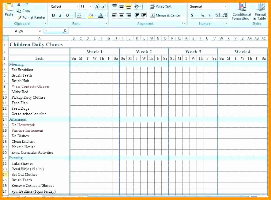 Chore Chart Template Excel Lovely Chore Calendar Template 9 Chart Templates Monthly Excel Ch