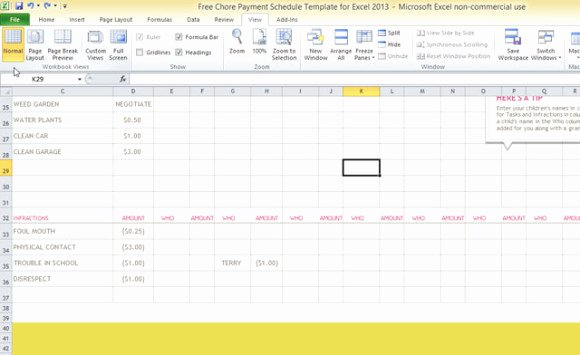 Chore Chart Template Excel Unique Free Chore Payment Schedule Template for Excel 2013