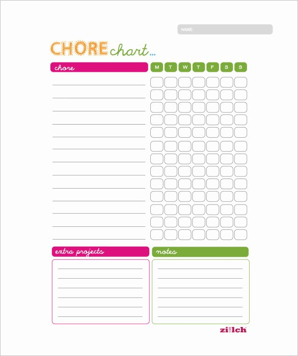 Chore Chart Template Word Fresh Weekly Chore Chart Template – 11 Free Word Excel Pdf