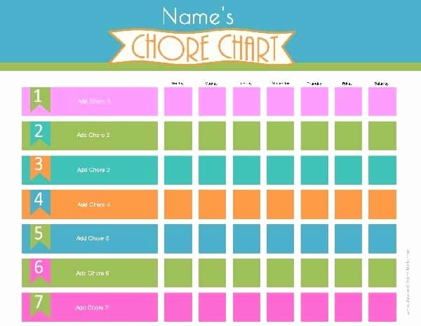 Chore Chart Template Word New Chore Chart Template