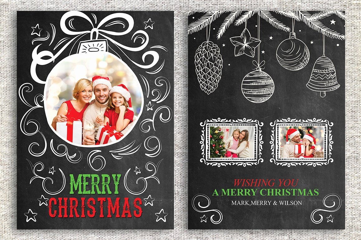 Christmas Card Template Photoshop Luxury Christmas Card Template Card Templates Creative Market