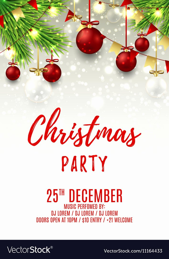 Christmas Party Flyer Template Beautiful Christmas Party Flyer Template Royalty Free Vector Image