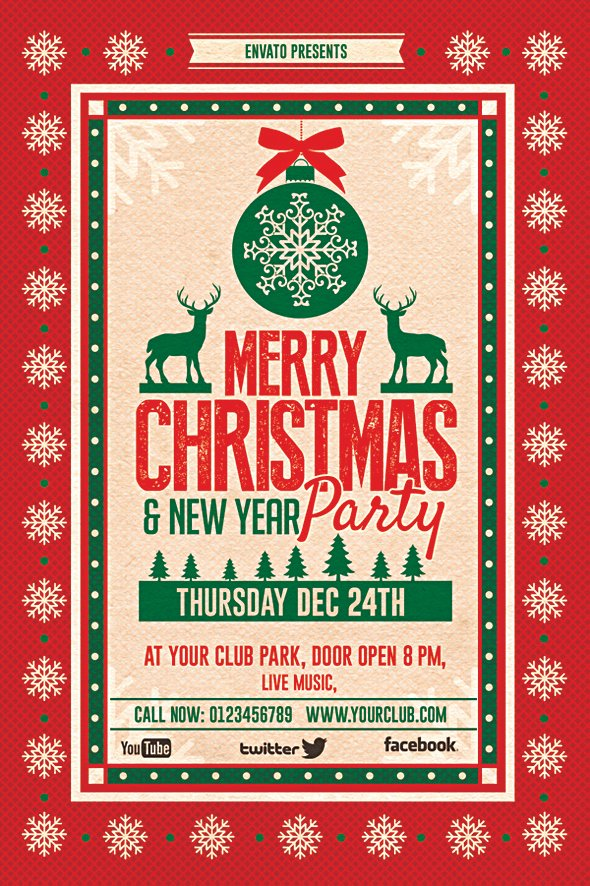 Christmas Party Flyer Template Fresh Christmas Party Flyer On Behance