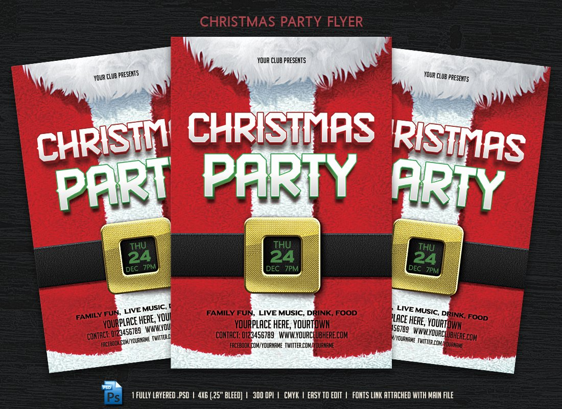 Christmas Party Flyer Template Inspirational Christmas Party Flyer Templates On Creative Market