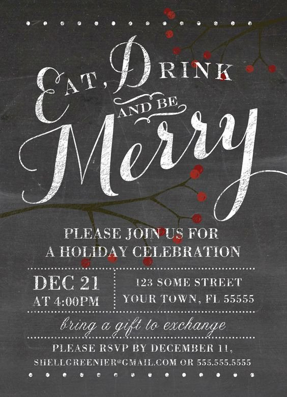 Christmas Party Flyer Template Unique Christmas Invitation Template Winter Chalkboard Holiday