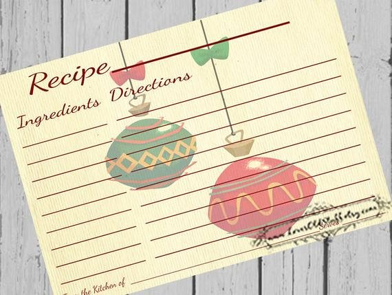 Christmas Recipe Card Template Awesome Christmas Recipe Card