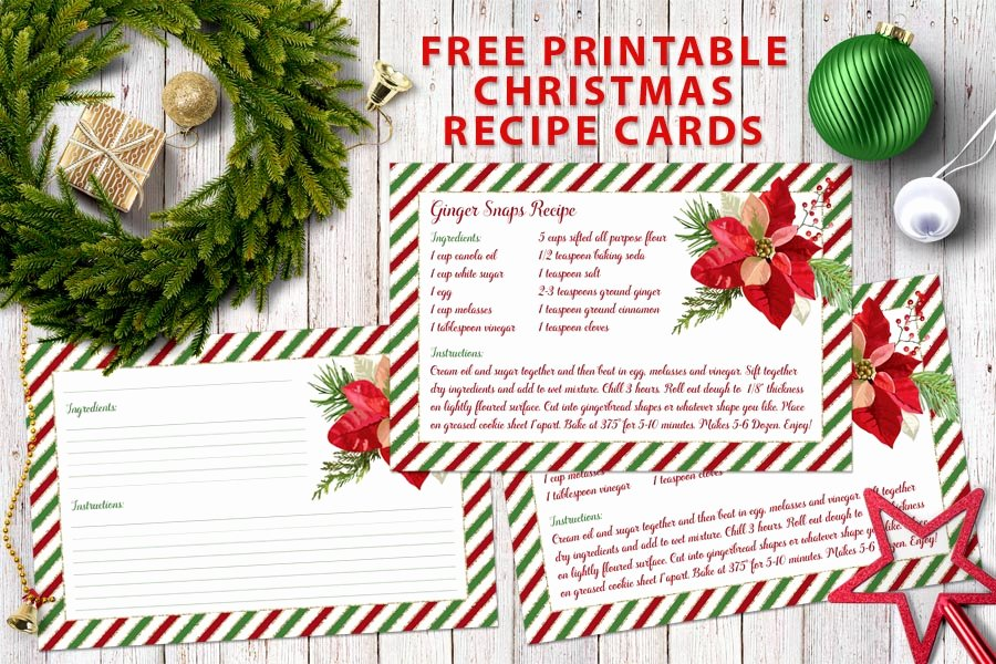 Christmas Recipe Card Template Awesome Free Printable Christmas Recipe Cards