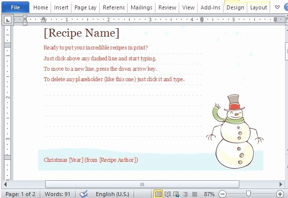 Christmas Recipe Card Template Best Of Recipe Cards Maker Templates for Word 2013