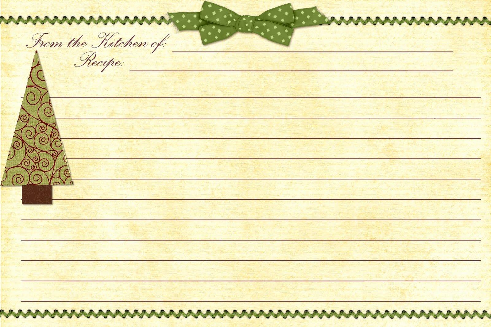 Christmas Recipe Card Template Elegant 8 Best Of Free Editable Printable Recipe Cards