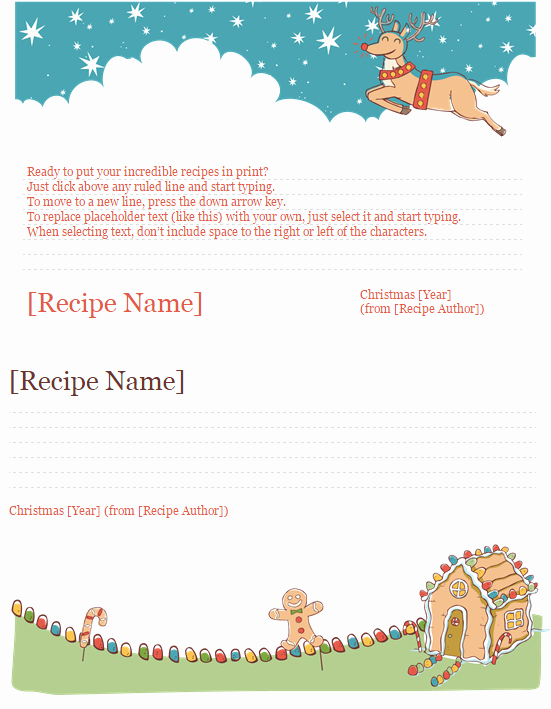 Christmas Recipe Card Template Fresh Christmas Recipe Card Template Template Haven