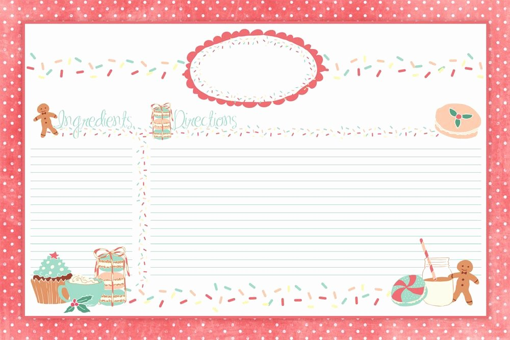 Christmas Recipe Card Template Lovely Adorable Christmas Recipe Cards E On Over to