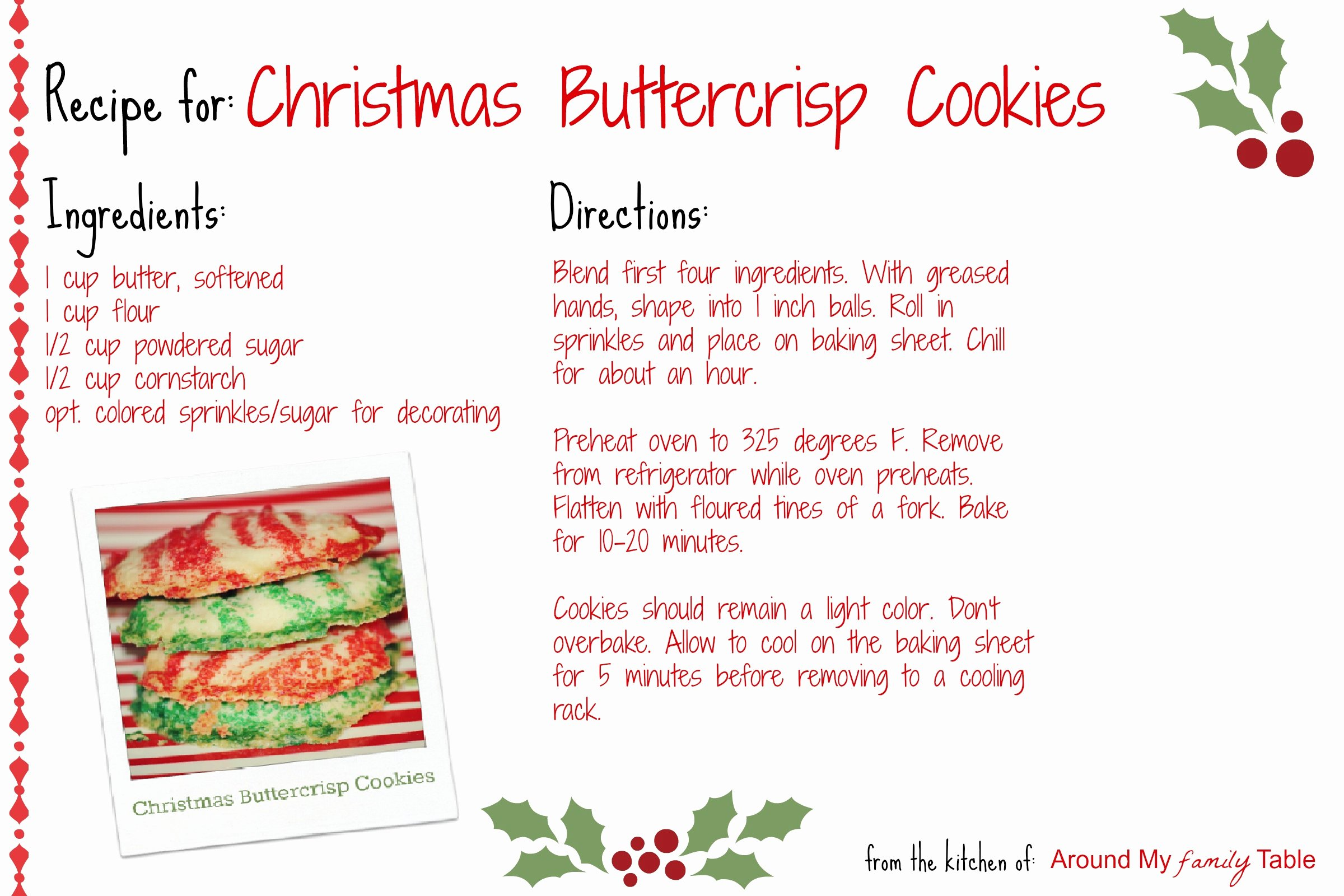 Christmas Recipe Card Template Lovely Christmas buttercrisp Cookies Recipe Card Around My
