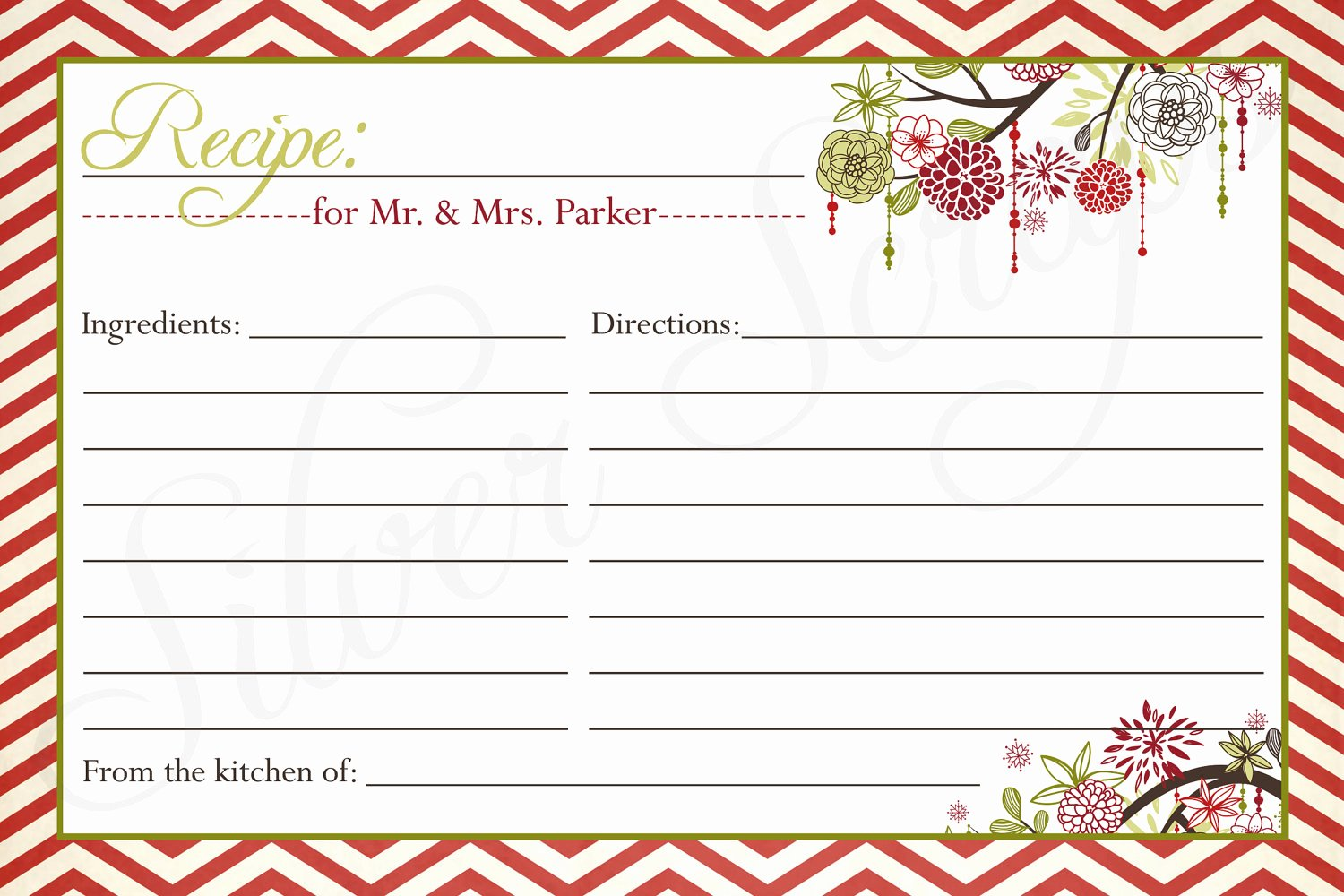 Christmas Recipe Card Template New 10 Best Of Editable Printable Recipe Card Template