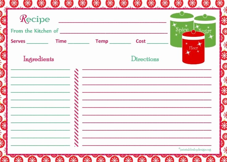 Christmas Recipe Card Template New 7 Best Recipe Template Images On Pinterest
