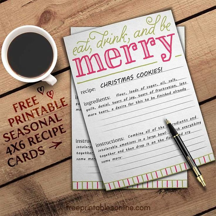 Christmas Recipe Card Template Unique 65 Best Recipe Cards Images On Pinterest