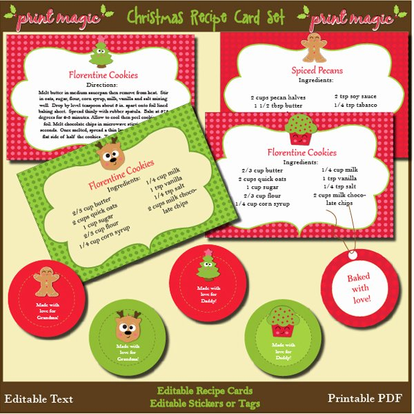 Christmas Recipe Card Template Unique 8 Best Of Christmas Free Printable Recipe Templates