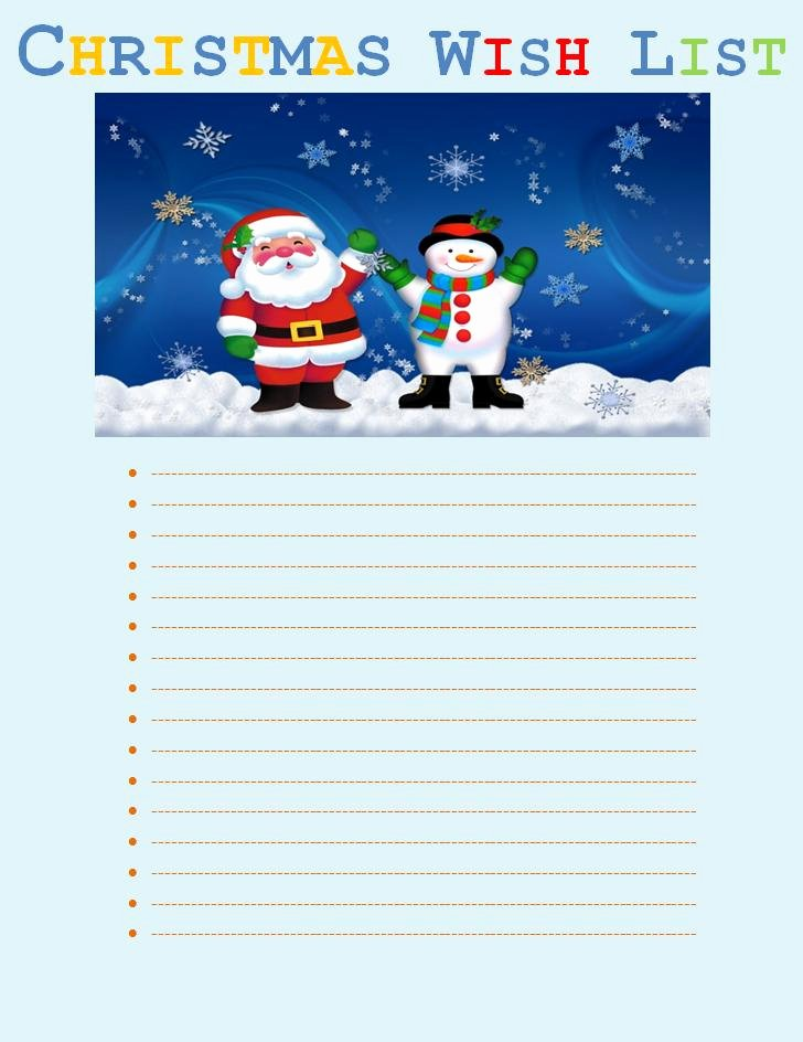 Christmas Wish List Template Beautiful Christmas Wish List Template
