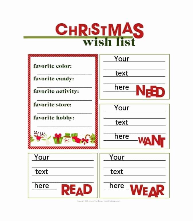Christmas Wish List Template Elegant 43 Printable Christmas Wish List Templates & Ideas