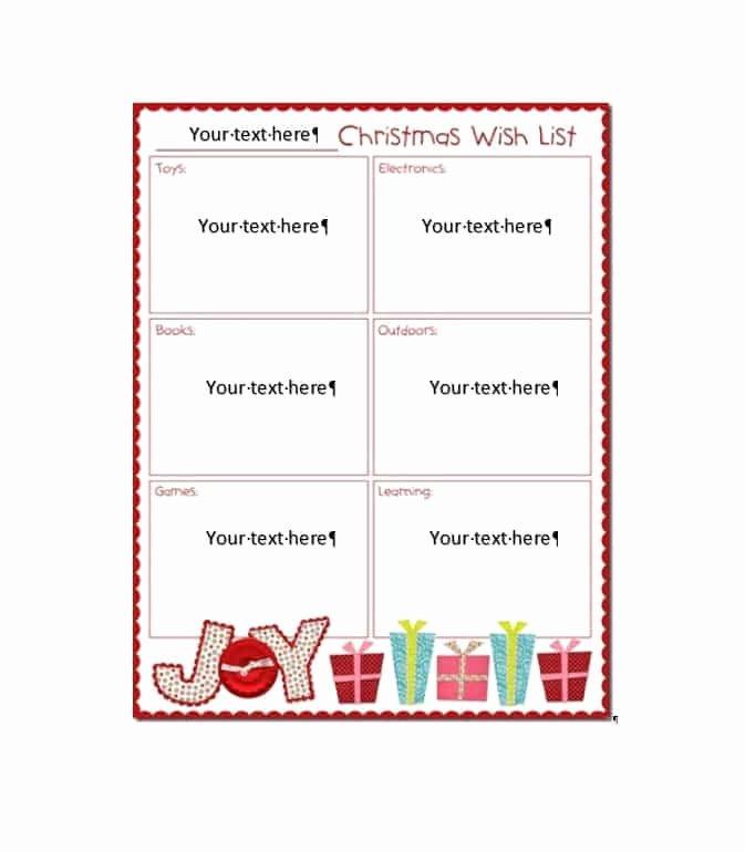 Christmas Wish List Template Fresh 43 Printable Christmas Wish List Templates & Ideas